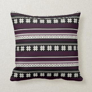 Black & Burgundy Nordic Knit Snowflake Graphic Cushion