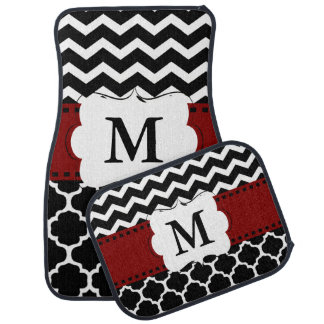 Black Burgundy Quatrefoil Chevron Monogram Car Mat