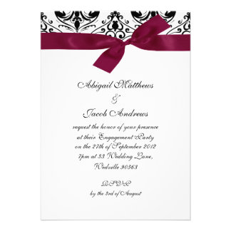 Black Burgundy Ribbon Engagement Party Invitation