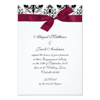 Black Burgundy Ribbon Engagement Party Invitation