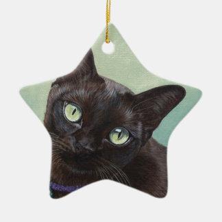 Black Burmese Cat Moose Ceramic Ornament