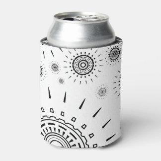Black Burst Patterns on White Can Cooler