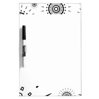 Black Burst Patterns on White Dry Erase Board