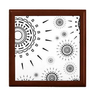 Black Burst Patterns on White Gift Box