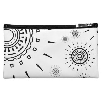 Black Burst Patterns on White Makeup Bag