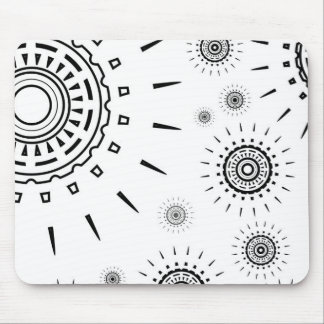 Black Burst Patterns on White Mouse Pad