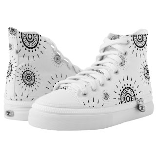 Black Burst Patterns on White Printed Shoes