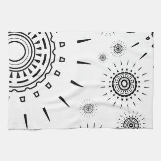 Black Burst Patterns on White Tea Towels