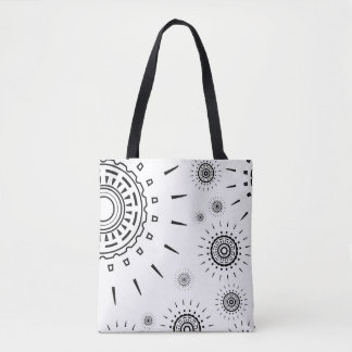 Black Burst Patterns on White Tote Bag