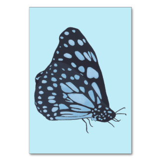 Black butterfly blue spots custom flashcards table cards