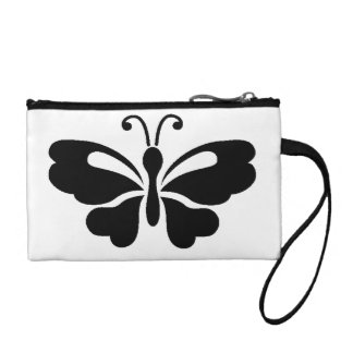 Black Butterfly Key Coin Clutch Change Purses