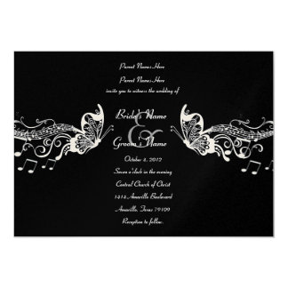 "Black Butterfly Music Fidelity Wedding Invitations 5"" X 7"" Invitation Card"