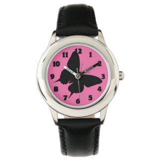 BLACK BUTTERFLY ON NEON PINK-WATCH WATCH