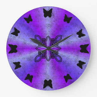 black Butterfly on Pink rainbow in leather optics Large Clock