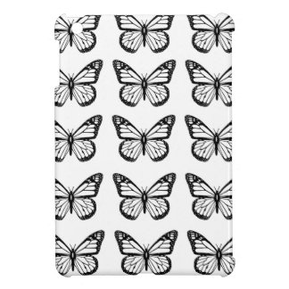 Black Butterfly outlines on White iPad Mini Cover