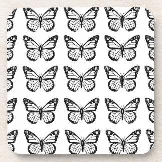 Black Butterfly Stencils Drink Coaster