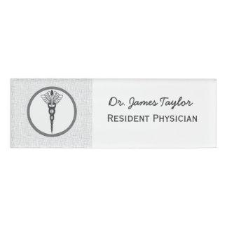 Black Caduceus Physician Doctor Medicine  Symbol Name Tag