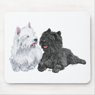 Black Cairn and West Highland Terriers Mouse Pad