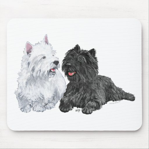 Black Cairn and West Highland Terriers Mousepad