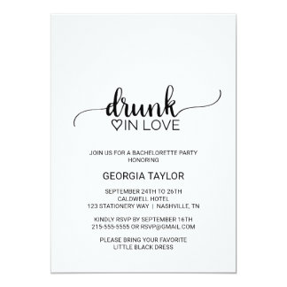 Black Calligraphy Drunk In Love Bachelorette Party Card