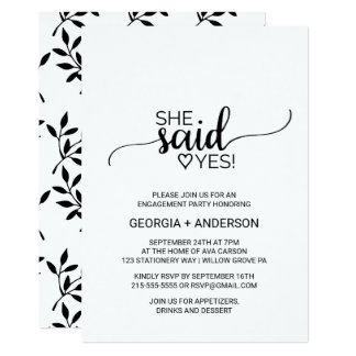 Black Calligraphy She Said Yes Engagement Party Card