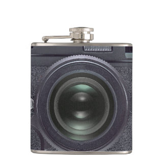 Black camera hip flask