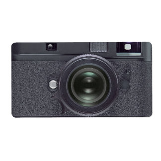 Black camera shipping label