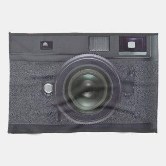 Black camera tea towel