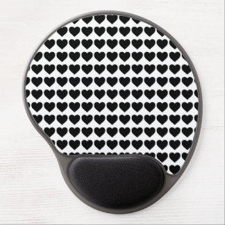 Black Candy Hearts on White Gel Mousepad