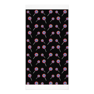 Black candy pattern photo card template
