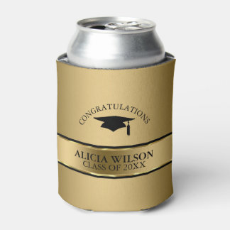 Black Cap And Gold Stripe- Graduation Can Cooler