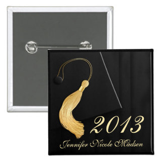 Black Cap and Gown with Gold Tassel 15 Cm Square Badge