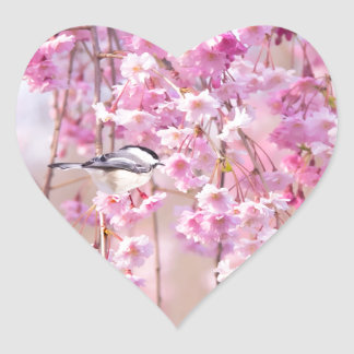 Black Cap Chickadee & Pink Weeping Willow Heart Sticker