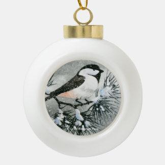 Black Capped Chickadee Bird Ceramic Ball Decoration