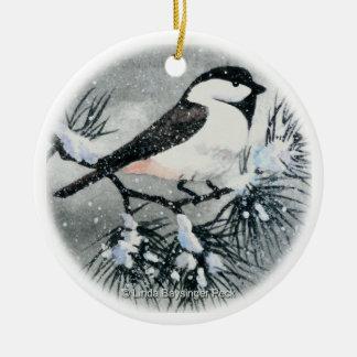 Black Capped Chickadee Bird Round Ceramic Decoration