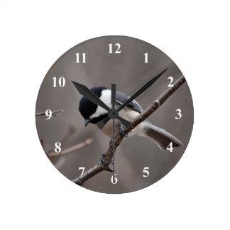 Black Capped Chickadee Round Clock