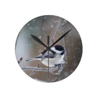 Black-capped Chickadee - Songbird Round Clock