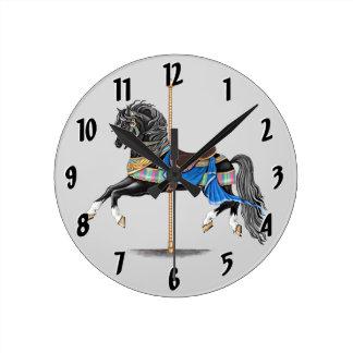 Black Carousel Horse Round Clock