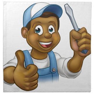 Black Cartoon Electrician Handyman Screwdriver Napkin