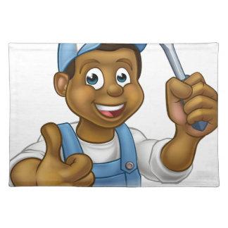 Black Cartoon Electrician Handyman Screwdriver Placemat