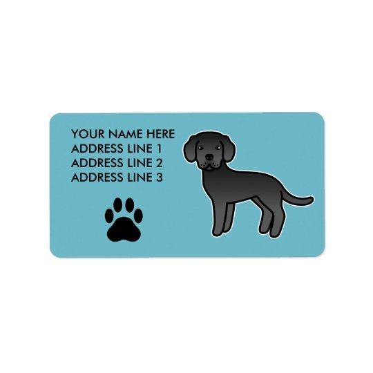 Black Cartoon Labrador Retriever Address Label