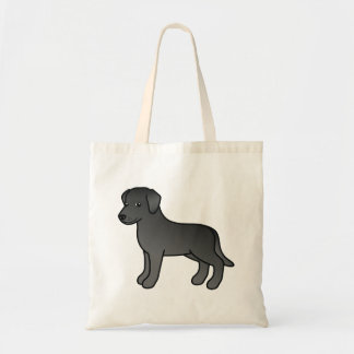 Black Cartoon Labrador Retriever Dog Design Tote Bag