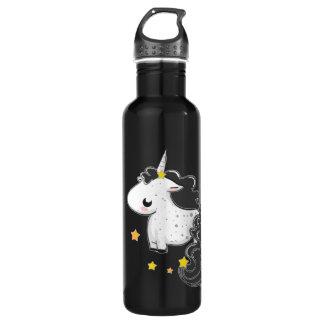 Black cartoon unicorn with stars 24oz water bottle