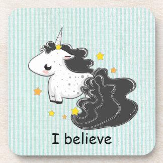 Black cartoon unicorn with stars cork coaster