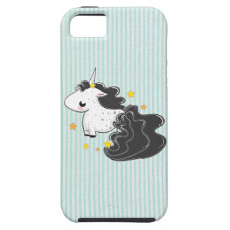 Black cartoon unicorn with stars iPhone 5 iPhone 5 Cover