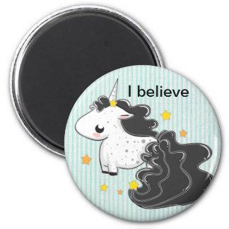 Black cartoon unicorn with stars magnet