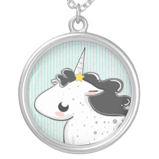 Black cartoon unicorn with stars Necklace