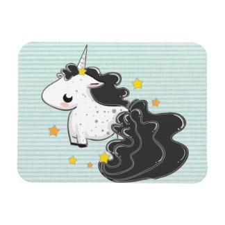 Black cartoon unicorn with stars premium magnet