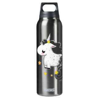 Black cartoon unicorn with stars 16 oz insulated SIGG thermos water bottle