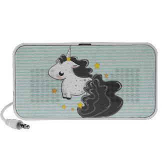 Black cartoon unicorn with stars speaker